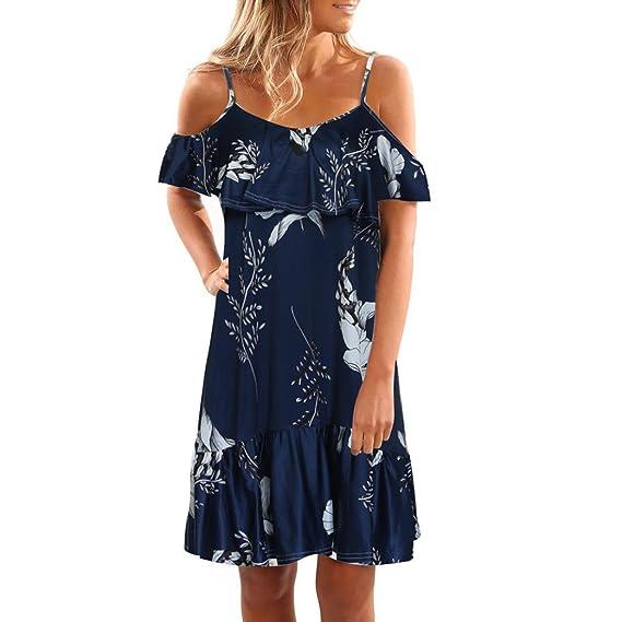 Keepwin Vestido Corto Para Mujer Con Volantes Mini Falda Hombros Descubiertos Estampado De Flores Vestido Vintage Casual Para Playa De Moda: Amazon.es: Ropa ...