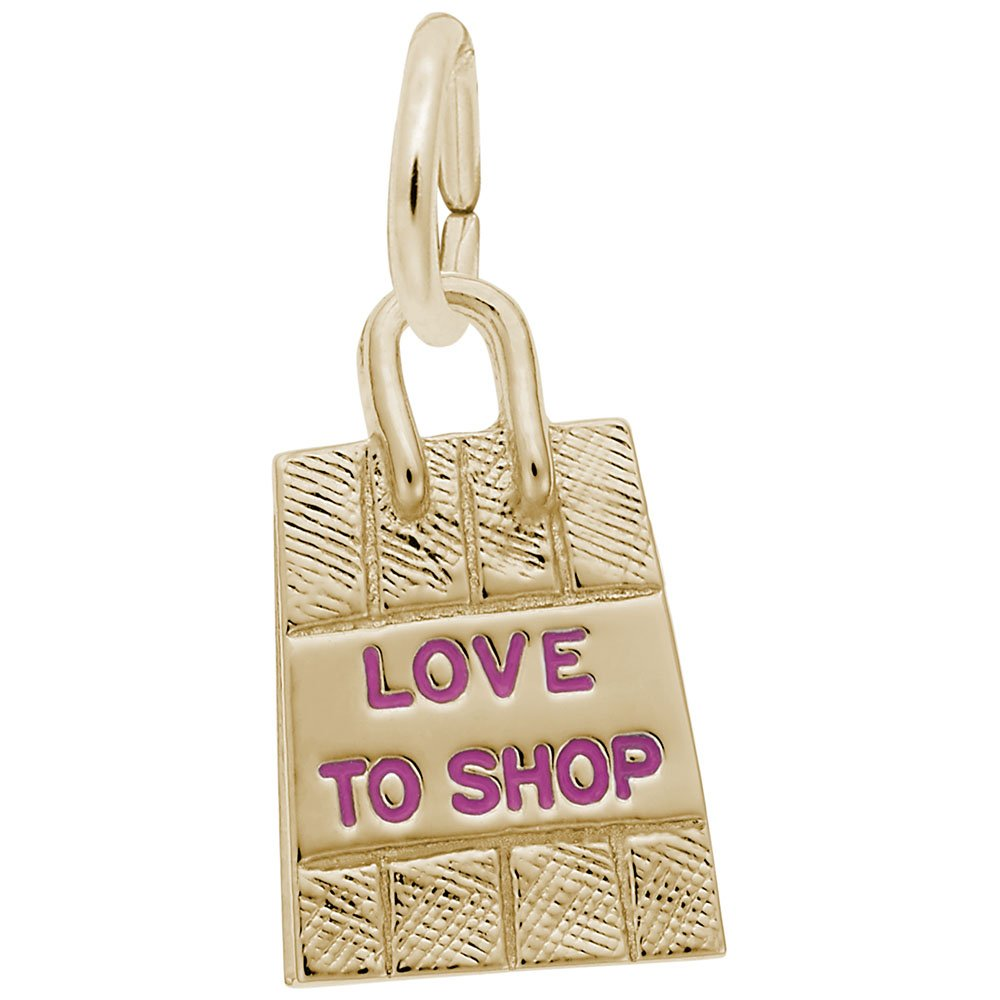 Shopping Bag - Pink Paint Charm In 14k Yellow Gold, Charms for Bracelets and Necklaces