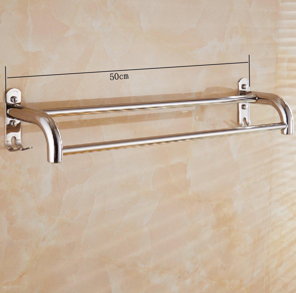 2 brazos 50cm Toallero de ba/ño Barra de toalla de acero inoxidable de pared con 2 ganchos
