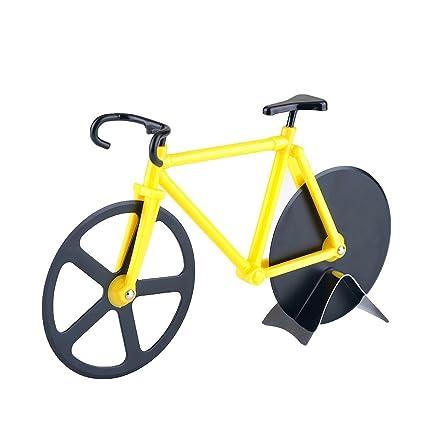 Cortador de pizza, yookay bicicleta forma acero inoxidable doble pizza cortador ruedas para el hogar