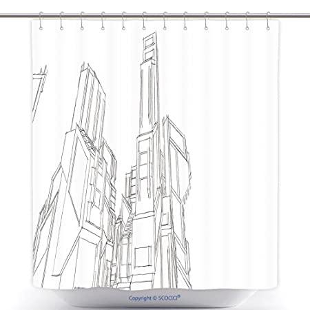 Vanfan Durable Shower Curtains Futuristic City Buildings Sketch