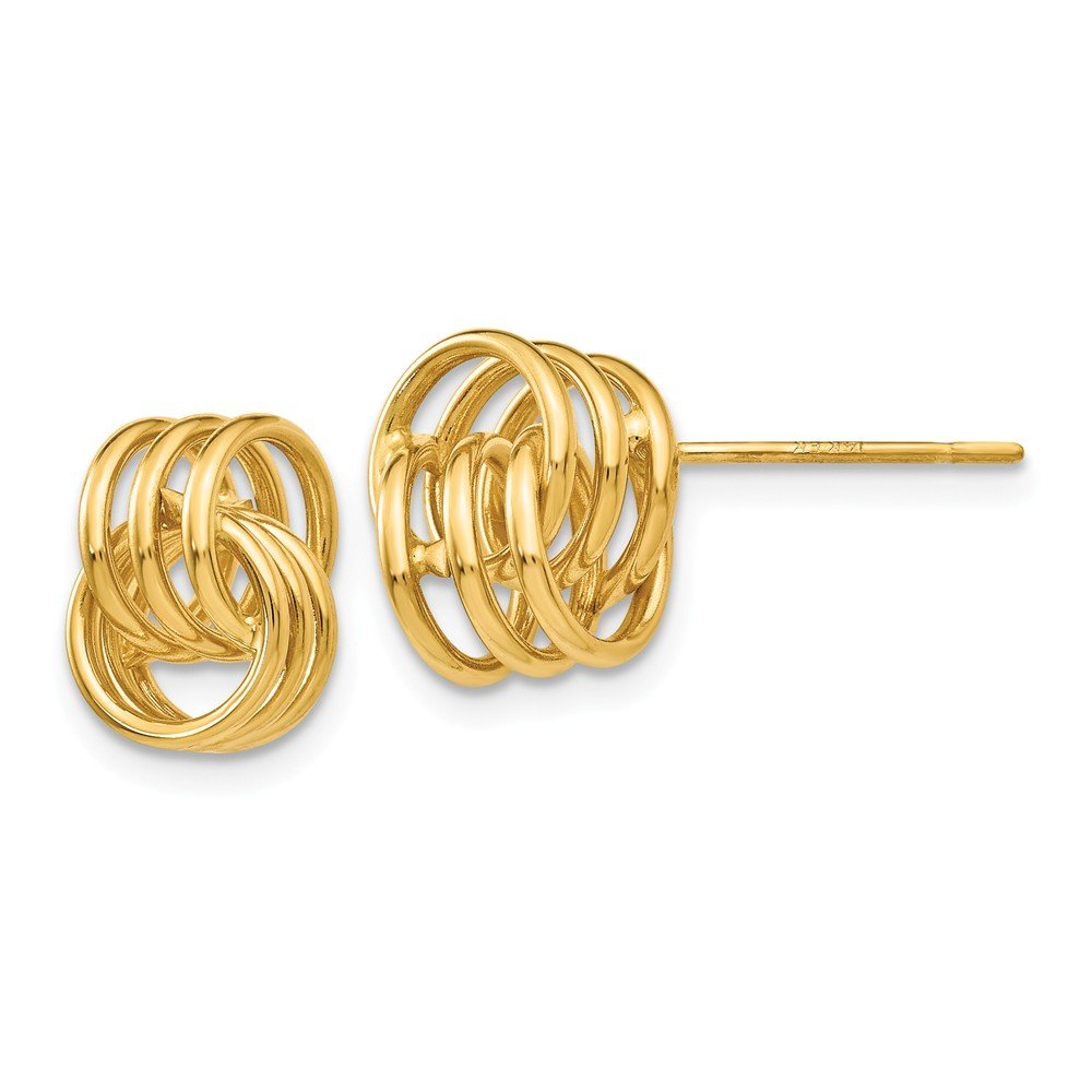 14k Yellow Gold Polished Knot Post Earrings