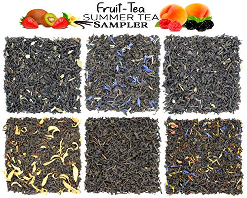 Fruit-Tea Summer Tea Sampler, Refreshing Loose Leaf Tea Assortment Featuring Blackberry, Vanilla, Tropicana, Gold Rush, Raspberry, Strawberry Kiwi Black Teas - Approx 90+Cups