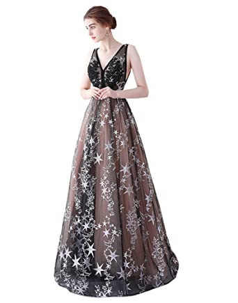 SHNE Womens Vintage V Neck Empire Floor Length Embroidered Star Semi Formal Prom Dresses Black and