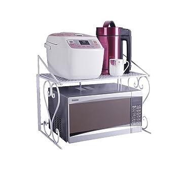 Multifuncional Simple Blanco de 2 capas Horno Microondas Rack Horno Estante Arte de Hierro Colgante Cocina