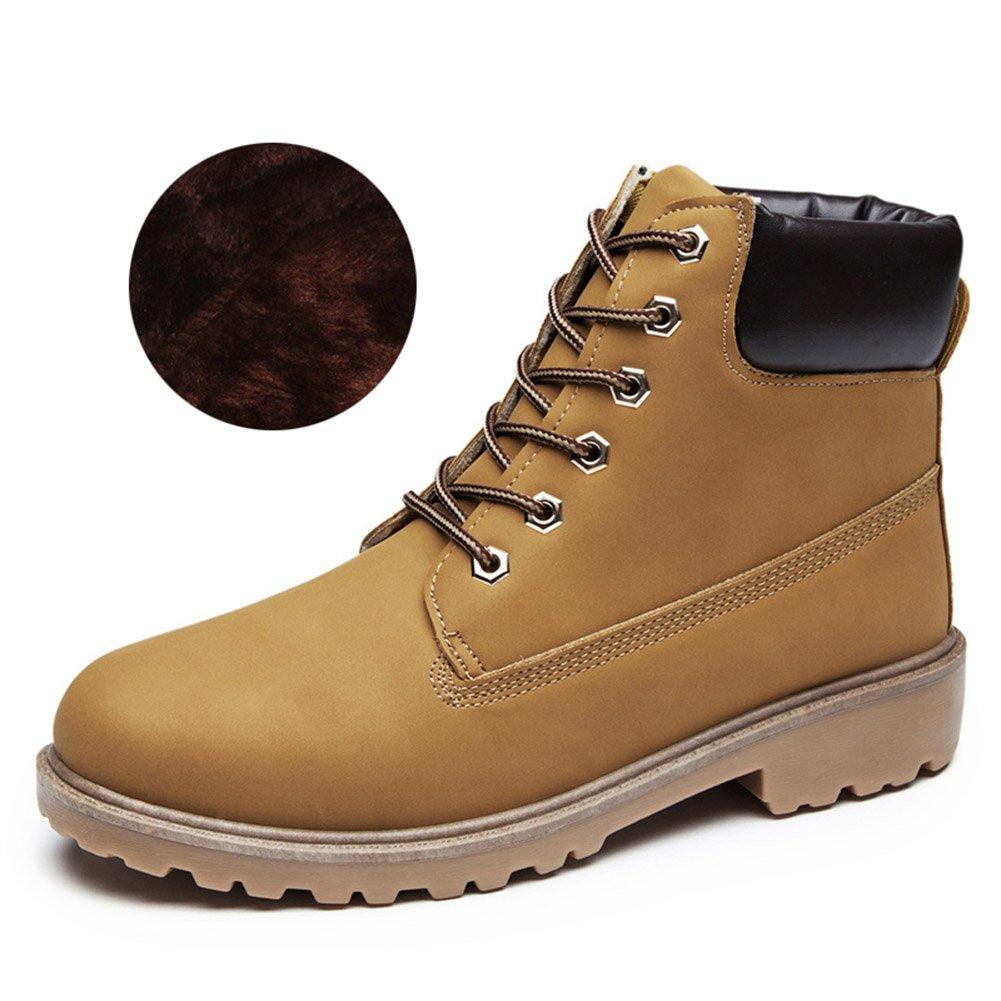 Herren Martin Stiefel Winter Warm Komfort PU-Leder Schuhe Kurzschaft Stiefel  Stiefeletten-TAIYCYXGAN  45 EU Gelb