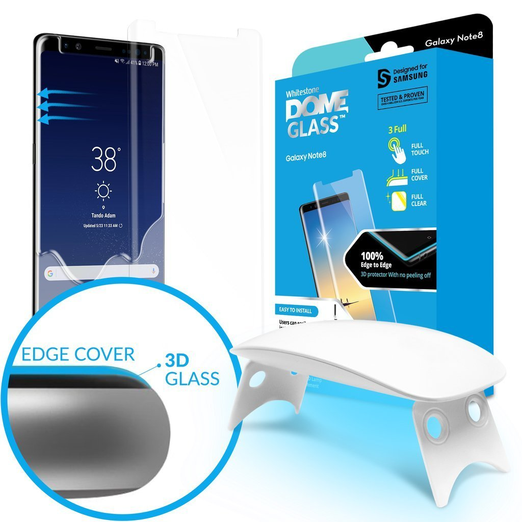 Galaxy Note 8 Screen Protector Tempered Glass Shield, [Liquid Dispersion Tech] 3D Curved Full Coverage Dome Glass, Easy Install Kit and UV Light by Whitestone for Samsung Galaxy Note 8 (2017) (1 Pack) by Dome Glass