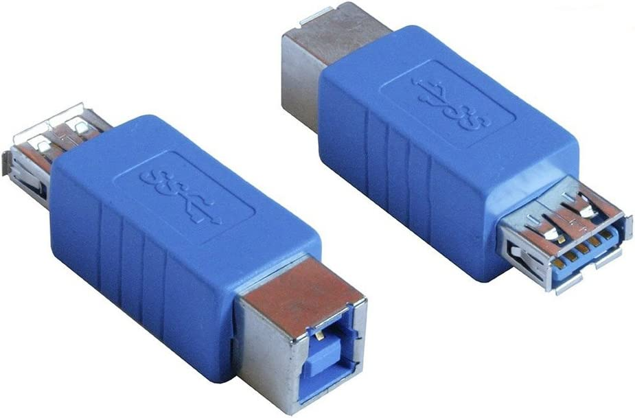 2 Pack HoGadget USB 3.0 Type A Female to Type B Female Adapter Connector Converter Adapter High Speed Extender Coupler