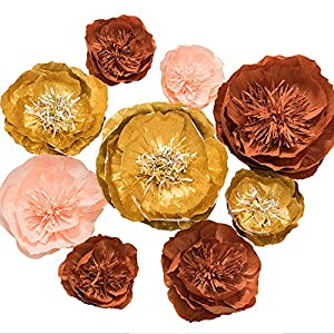 Ling's moment 9pcs Paper Flowers Decorations, Paper Wall Flowers 51