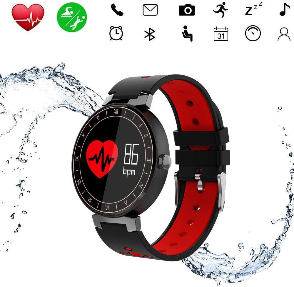 Reloj Smartwatch Hombre Reloj Inteligente Mujer Ip68 Reloj Deportivo con Pulsometro Pulsera de Actividad Inteligente Fitness Tracker Bluetooth con Distancia, Kilometraje,También para Correr (Rojo)