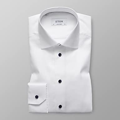 e1fd3980434dbf Image Unavailable. Image not available for. Color: Eton Men's White Twill  Blue Buttons Shirt ...