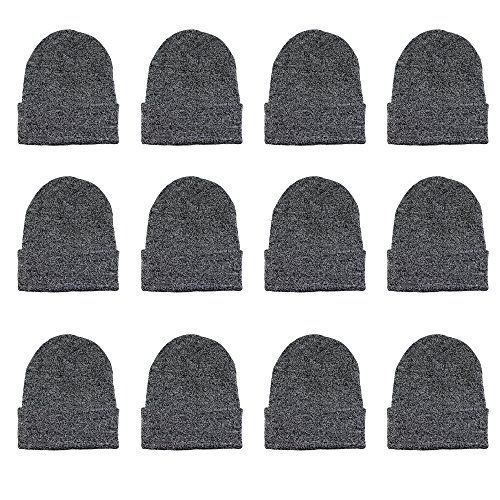 (Gelante Unisex Beanie Cap Knitted Warm Solid Color Multi-Packs (12 Pack: Style 140))