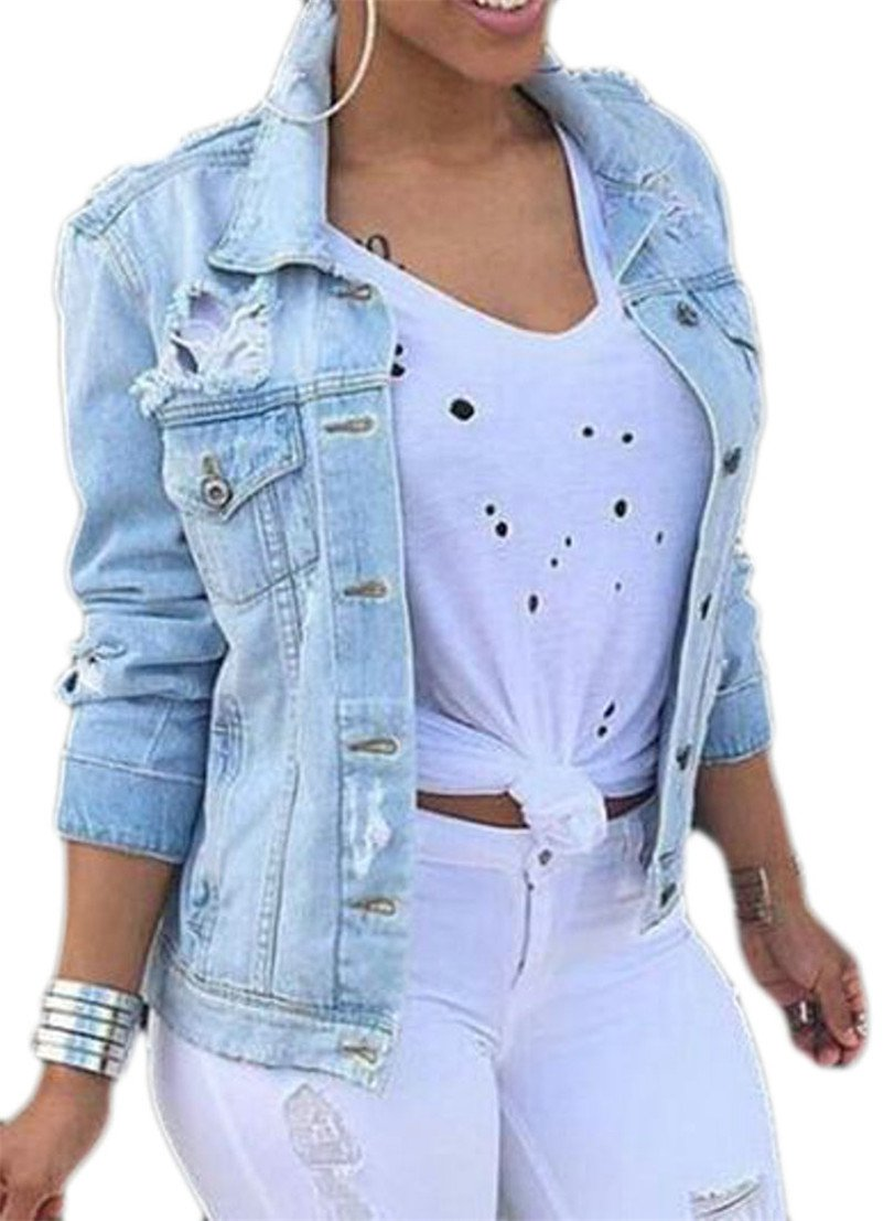 Pivaconis Womens Casual Long Sleeve Button Down Ripped Hole Denim Jackets Light Blue X-Large by Pivaconis