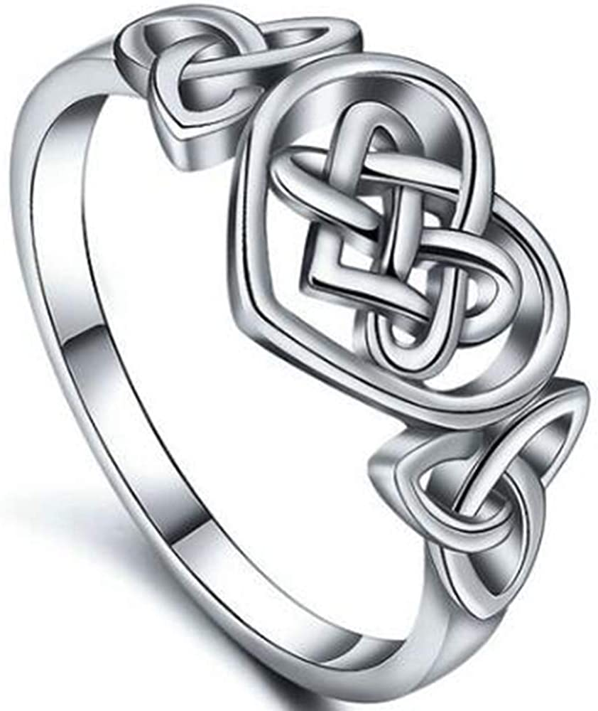 Kingray Jewelry Size 4-12 Stainless Steel Heart Shaped Celtic Knot Promise Ring