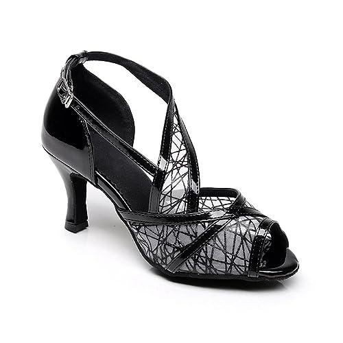 3657a518effd8 misu Women's Peep Toe Sandals Latin Salsa Tango Practice Ballroom ...
