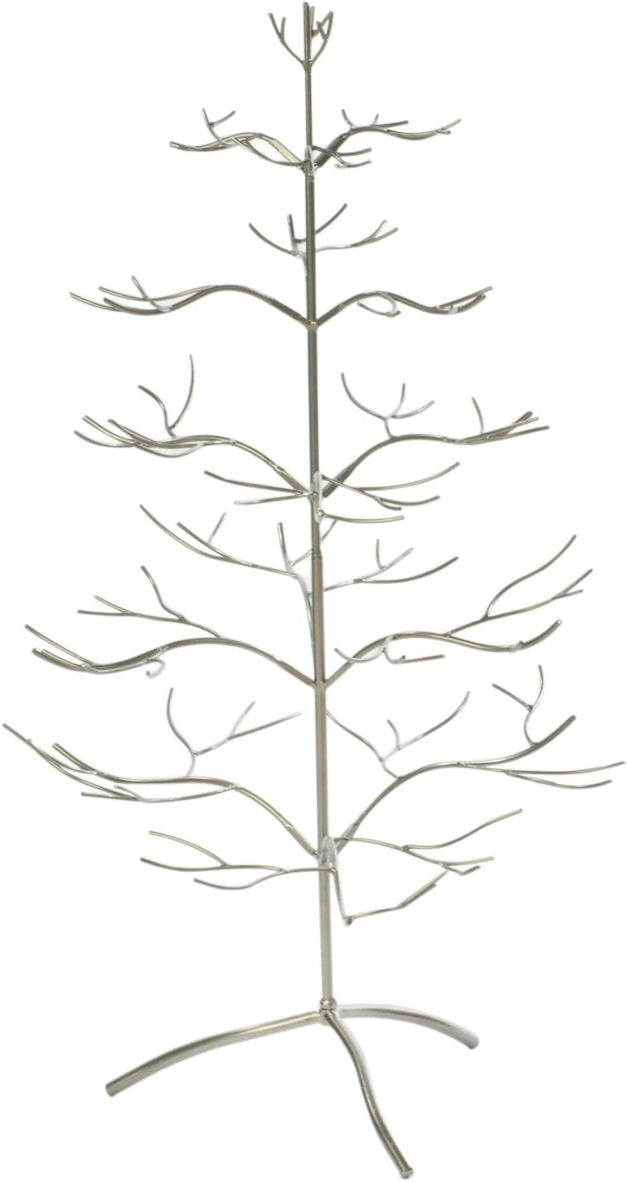 """Ornament Tree Christmas Décor/ Jewelry and Accessory Display in Silver Finish - 36"""" h"""
