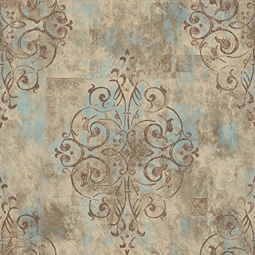 Cheap  HaokHome 79603 Vintage French Damask Wallpaper Deep Yellow/Mist Blue/Brown for Home Bathroom..