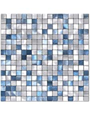 BeNice Peel and Stick Backsplash Tile Stickers Backsplash Kitchen,Peel and Stick Tile for Bathroom Wall Adhesive Tiles Peel and Stick on Small Tile Metal Tiles Square-5sheets Blue Mix