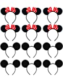 Mouse Ears Headband EUICAE Adult Headband Mouse Costume Solid Back Red Pink Bow for Girls Boys Birthday Party Theme Park…