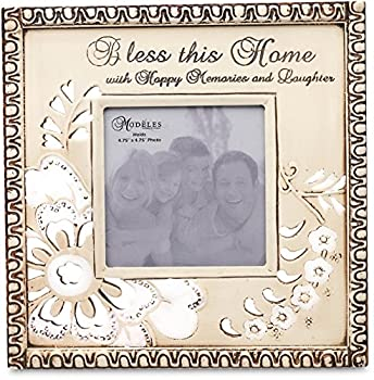 Modeles 88026, 9.5-Inch X 9.5-Inch Photo Frame, Holds 4.75-Inch X 4.75-Inch Photo, Bless This Home Sentiment
