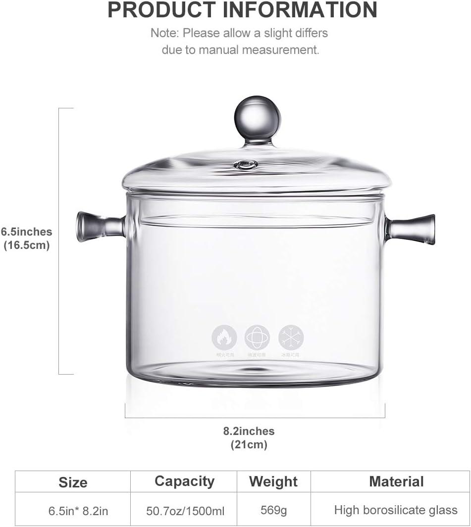 ONEISALL Casserole en verre transparent pour salade et nouilles instantan/ées 2L transparent