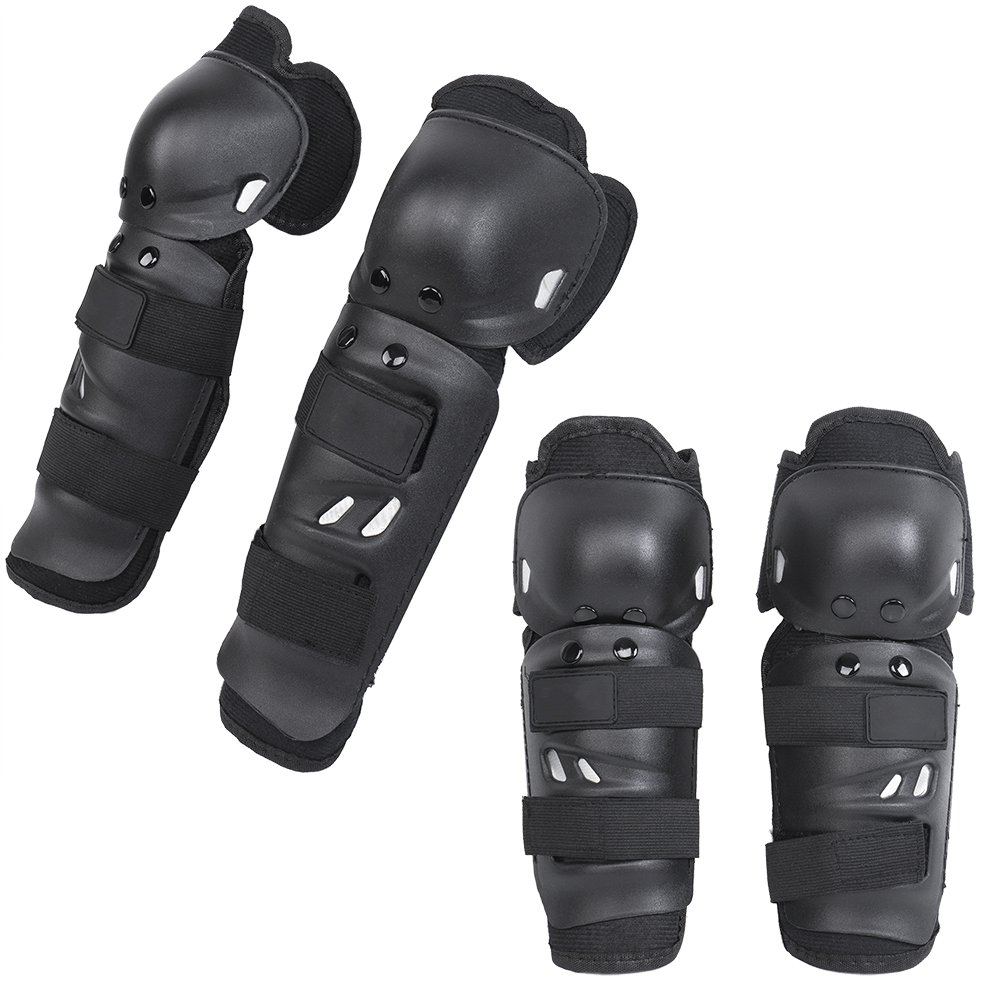 Shin Guards Adult Elbow & Knee Pads Protector Flexible Breathable Adjustable Elbow Armor for Motorcycle Motocross Racing Mountain Bike, One size Fits Most, 4 Pieces Black TK