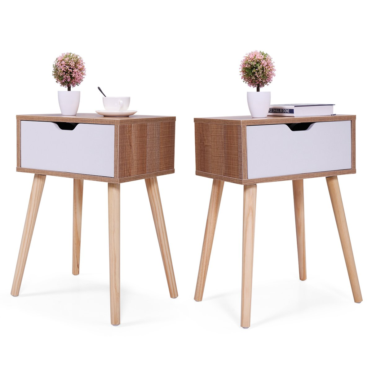 JAXPETY Set of 2 Bedside Table Solid Wood Legs Nightstand with White Storage Drawer (Brown)