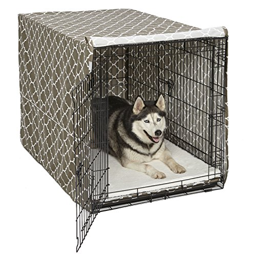 Midwest Homes for Pets CVR48T-BR Dog Crate Cover with Fabric Protector, X-Large, Brown Geometric - Bed 48 Crate Inch Pet