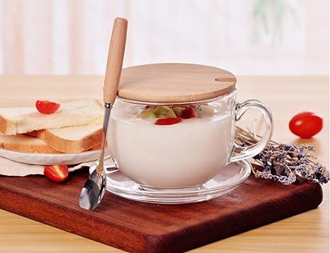 guangmingzhijia Taza Taza De Cafe Vaso De Avena De Vidrio De Gran Capacidad con Tapa Cuchara Taza De Desayuno Microondas Leche Tazón De Cereales Inicio: Amazon.es: Hogar