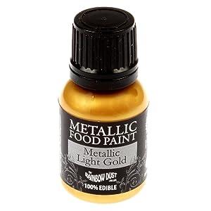 Single pot of Rainbow Dust Light Gold Edible Metallic Food Paint & Single pot of Cupcake Avenue Edible glue
