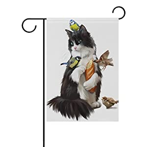 ALAZA Double Sided Black and White Cat and Birds Watercolor Hand Drawn Polyester Garden Flag Banner 12 x 18 Inch for Outdoor Home Garden Flower Pot Decor