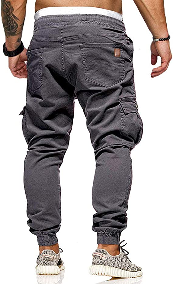 Abetteric Men Athletic-Fit Oversized Relaxed Thicken High Waist Running Trousers