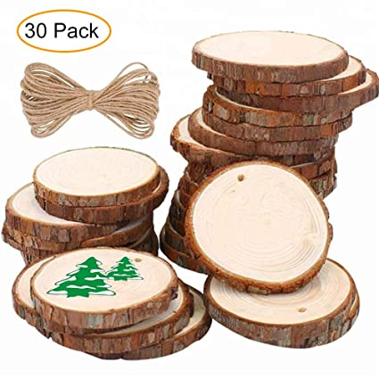 Small Natural Wood Slices Predrilled With Holes 30 Pcs 24 28 Unfinished Wooden Circles With 33 Ft Jute Twine Widely Used In Diy Arts And