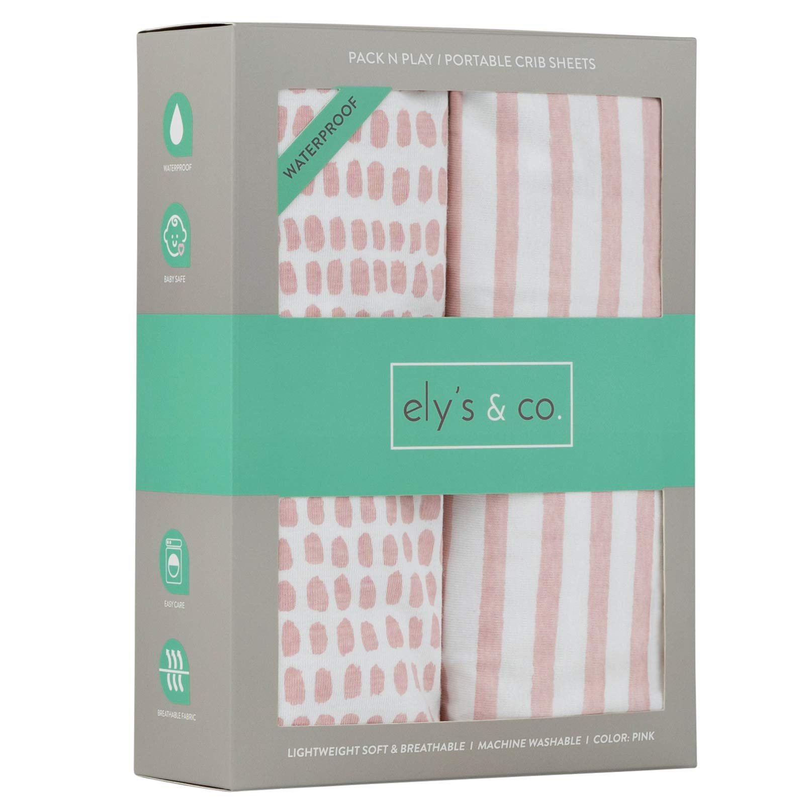 Waterproof Pack N Play/Mini Portable Crib Sheet with Mattress Pad Cover Protection I Mauve Pink Stripes and Splash by Ely's & Co. by Ely's & Co.