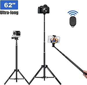 Selfie Stick Tripod, 62 inch Ultra-long Extendable Selfie Stick Tripod Stand Aluminum Alloy with Bluetooth Remote for iPhone 11 Pro XS MAX X XR 8 7 6 Plus, Samsung Galaxy S10 S9 S8 Plus Android, GoPro
