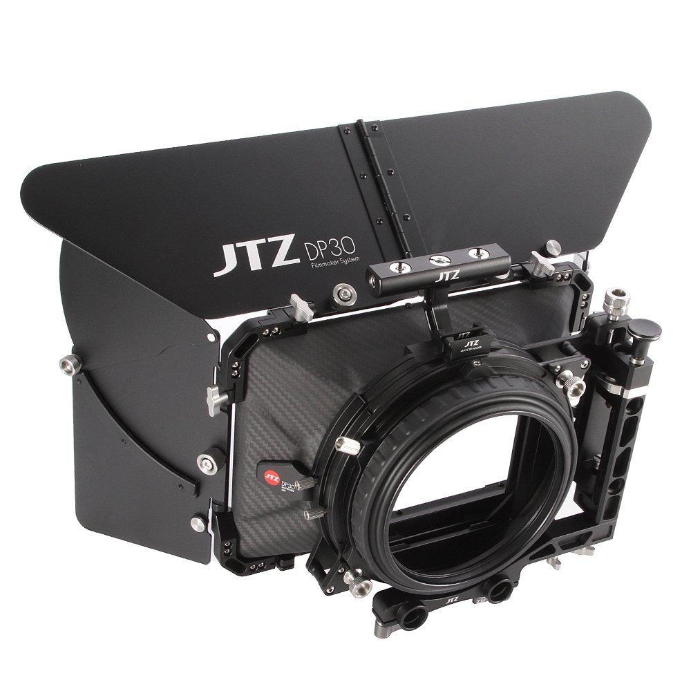JTZ DP30 Cine Carbon Fiber 4x5.65 Inch Swing-Away Matte Box w/ 15mm / 19mm Rod Rail + Top Handle for Sony FS5 FS7 ARRI RED Canon C100 C200 C300 BMD Blackmagic BMPCC BMCC Pocket Cinema Panasonic Camera by JTZ