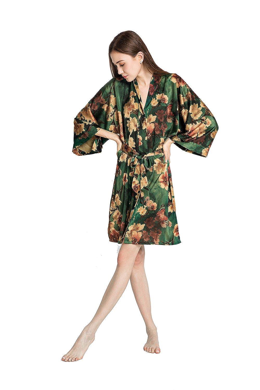 Old Shanghai Women's Kimono Robe Short - Watercolor Floral Azumi- Green