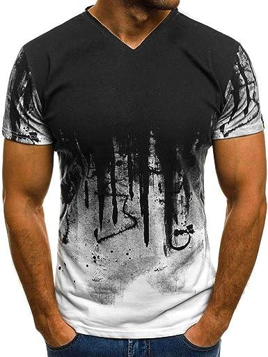 riou Camiseta de Manga Corta para Hombre con Cuello en v ...
