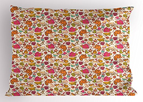 Ambesonne Tea Party Pillow Sham by, Retro Style Kitchen Thin
