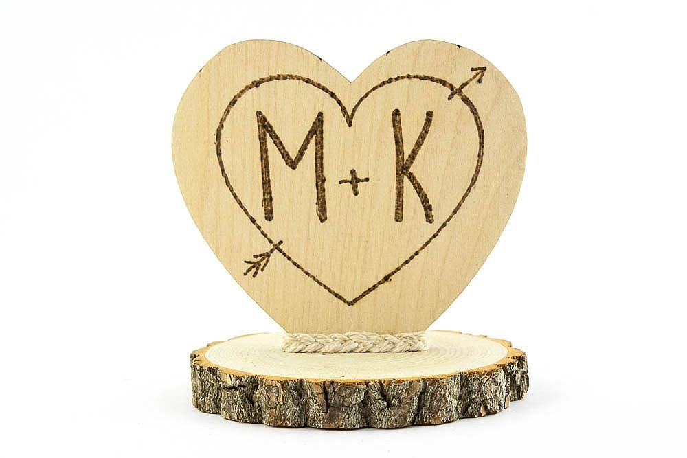 Amazon.com: Personalized Cupid\'s Heart Rustic Cake Topper: Kitchen ...
