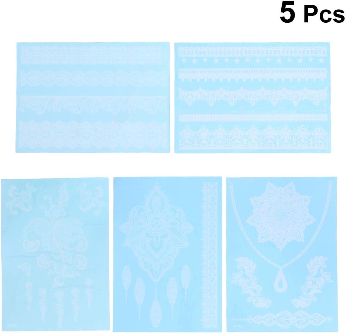 STOBOK 5Pz Tatuaggi Temporanei Impermeabile Pizzo Bianco Adesivi Tatuaggio Falsi per Uomo Donna Bambini Modello Casuale