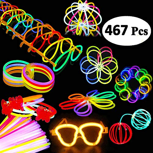 BUDI 200 Glow Sticks 467Pcs Glow Party Favors for Kids/Adults: 200 Glowsticks Party Packs 7 colors+ Connectors for Glow Necklace, Flower Balls, Luminous Glasses and Triple/Butterfly -