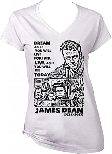 teesquare1st James Dean Dream Quote 1 Camiseta Blanca para Mujer ...