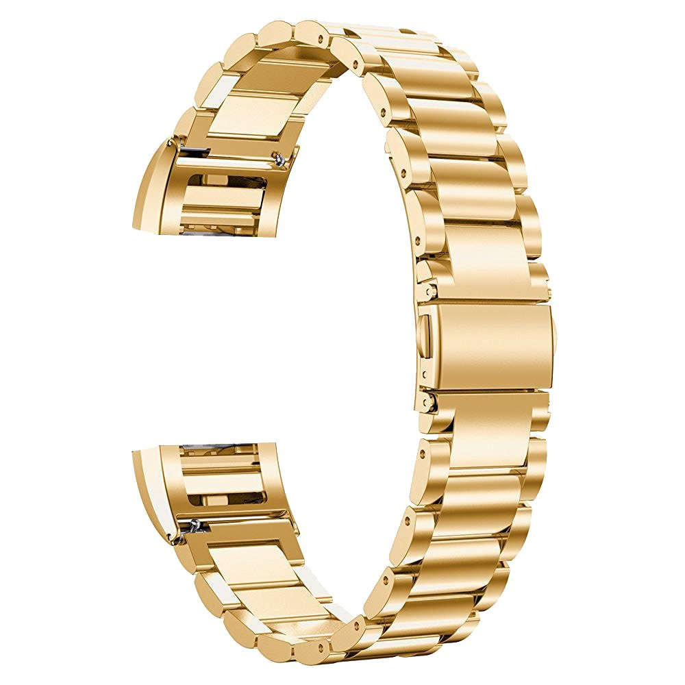 Luxury Premium Solid Steel Wrist Watch Straps Replacement Bracelet Metal for Fitbit Charge 2 Gold Tone