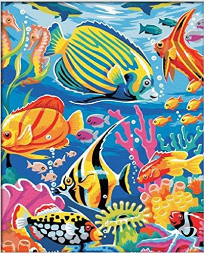 Wood Fish Paint (Diy oil painting, paint by number kit- Many kinds of fishes Sea world 1620 inch.)