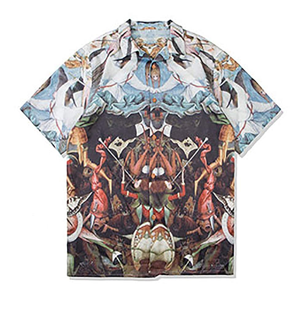 CATERTO Mens Tropical Short Sleeve Floral Print Beach Aloha Hawaiian Quick Dry Shirts