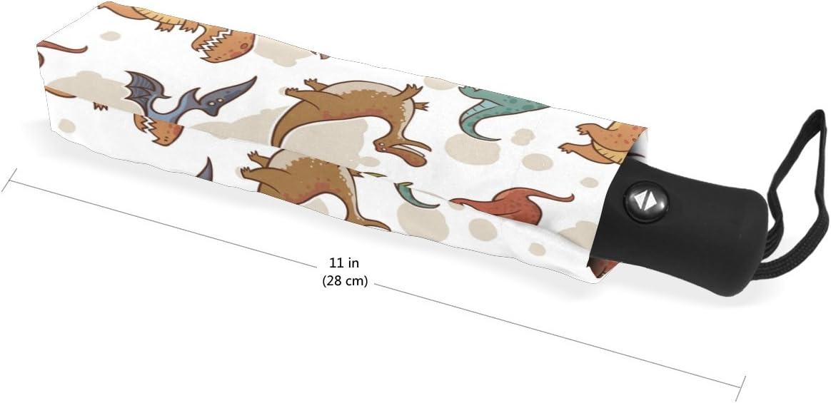 MAPOLO Cute Dinosaur Print Windproof Rain Travel Canopy 3 Folds Auto Open Close Button Umbrella