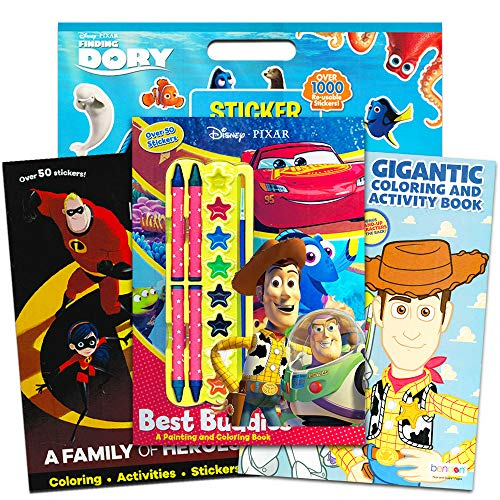 - Disney Pixar Toy Story Coloring and Activity Book Super Set - Pack of 3 Books with Paint, Crayons, and Over 1000 Stickers Featuring Toy Story, Incredibles, Finding Nemo and More (Toy Story Party Pack)