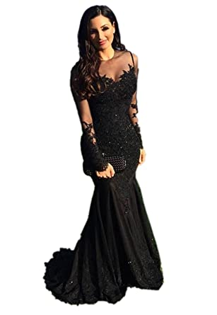 LOKEY Womens Mermaid Beaded Sheer Long Sleeve Lace Applique Long Prom Dress Evening Gowns Black US2