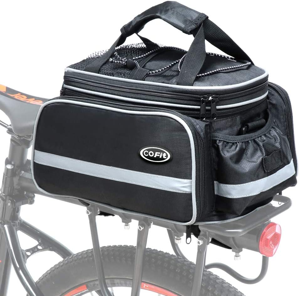 Cofit Bicicleta Pannier, Bolsa para Maletero de Bicicleta Extensible para el Asiento Trasero de la Bicicleta Pannier Negro